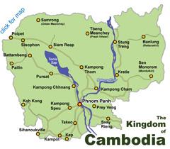Cambodia Map Index Siem Reap Angkor Phnom Penh Sihanoukville