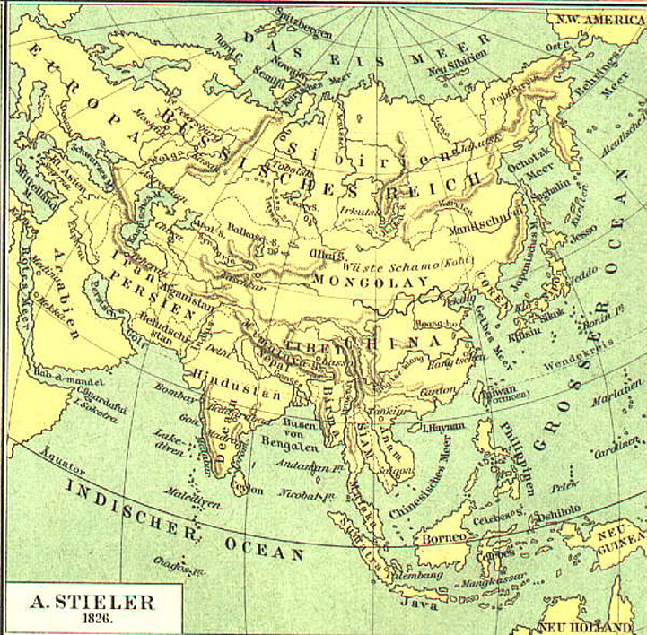 Map Of Asia 800.Asia 1826 Map