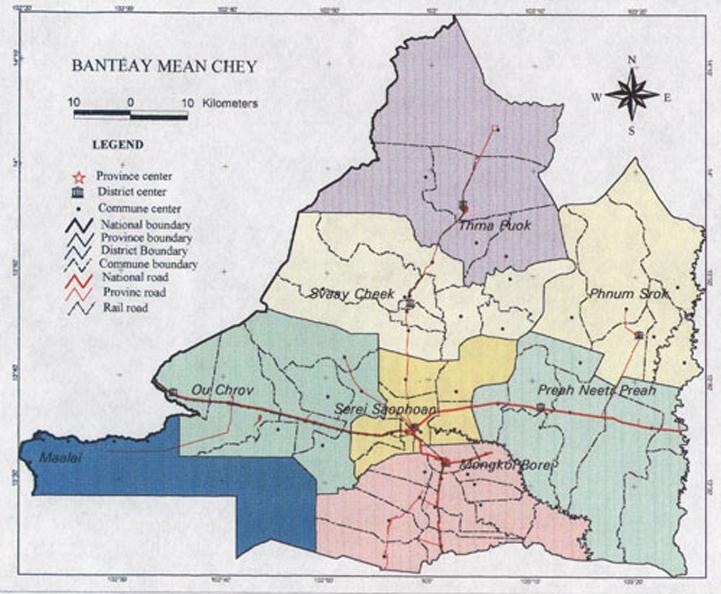 Banteay Meanchey Cambodia  city photos gallery : map province banteay meanchey cambodia 800