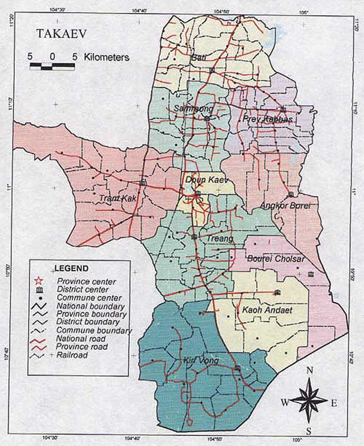 Takeo Cambodia  City pictures : map province takeo cambodia 800