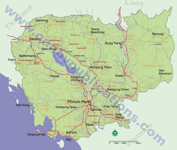 Cambodia Map on