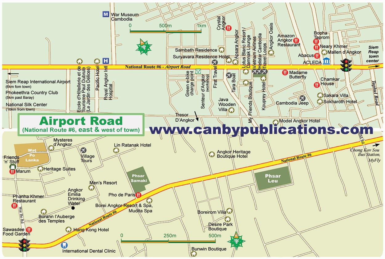 Angkor Wat Karte.Map Siem Reap Cambodia