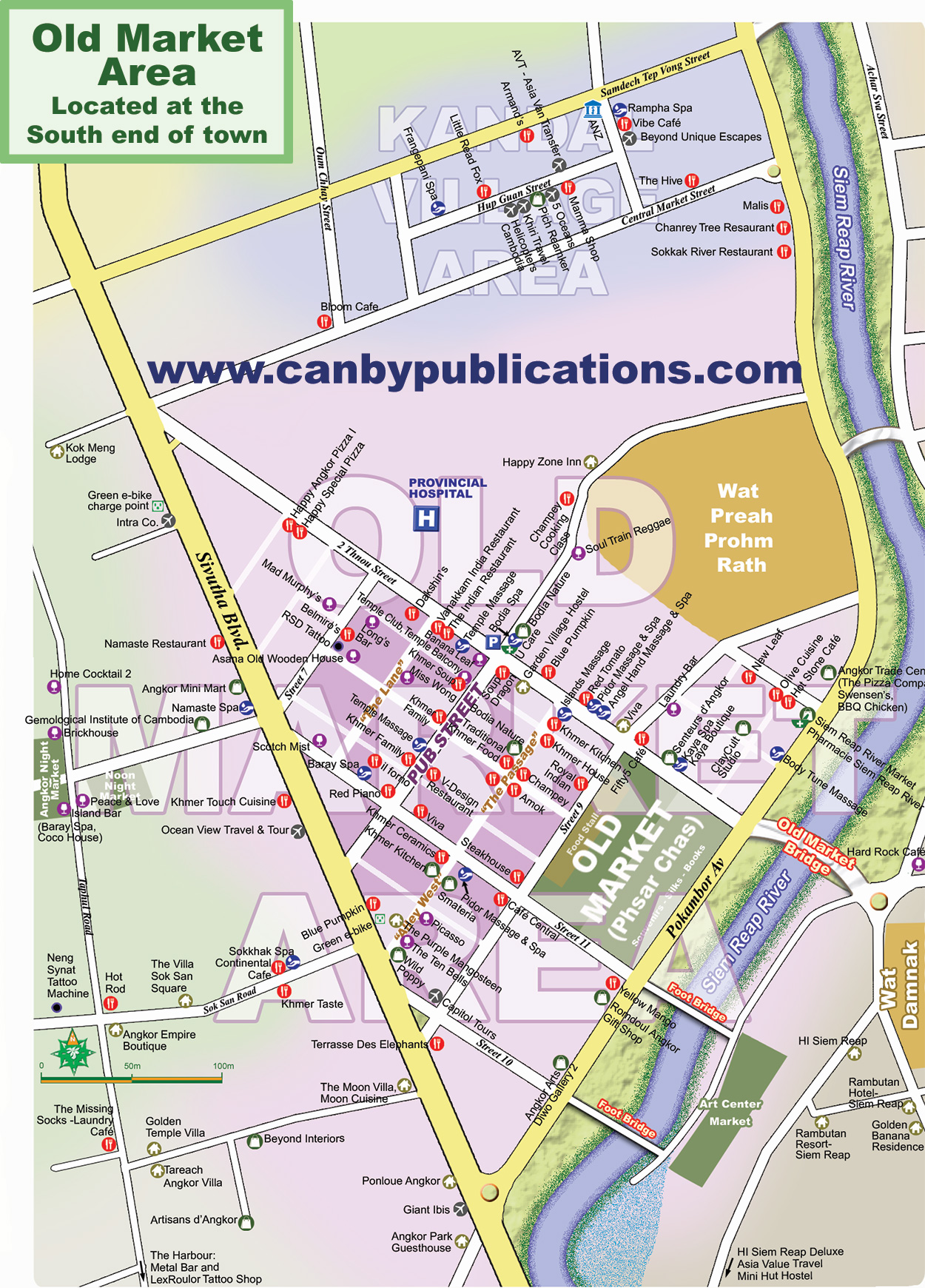 Map Old Market Area Siem Reap Cambodia - Cambodia visa for us citizens dc embassy map