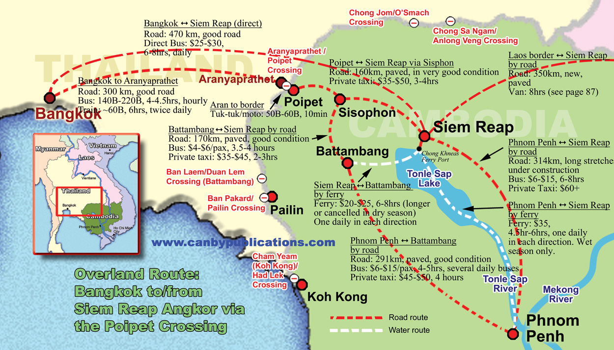 cambodia map of overland routes to siem reap cambodia