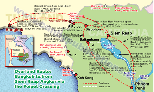 Cambodia Overland Travel And International Border Crossings: Thailand Laos Border Crossing Map At Infoasik.co