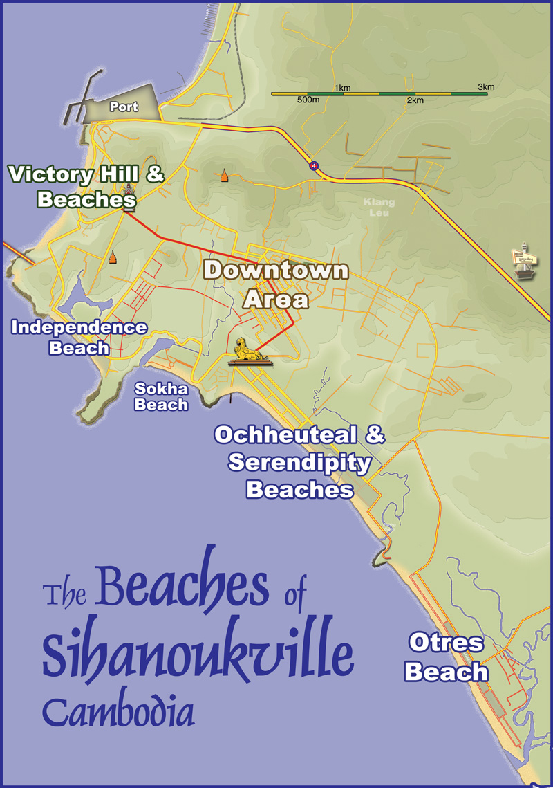 sihanoukville beaches map cambodia